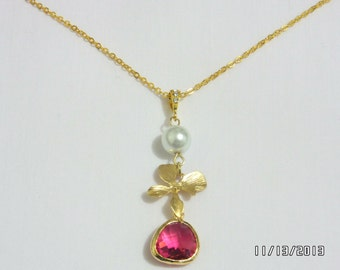 Beautiful Fuchica glass stone orchid necklace with 8mm fresh water pearl, gold necklace, weddings jewelry, Bridesmaid gift,