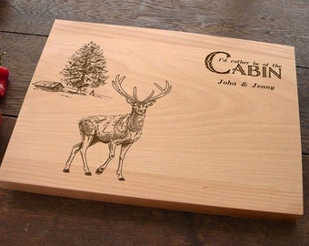 Personalized Custom Cutting Board with Deer and Cabin Hunter Present Gift for Him Country Decor Outdoor Life Lovers Father's Day Gift