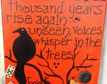 Unseen voices mixed media halloween Painting