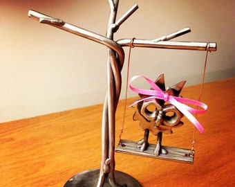 Metal Art Tree of Life with Baby Hoot