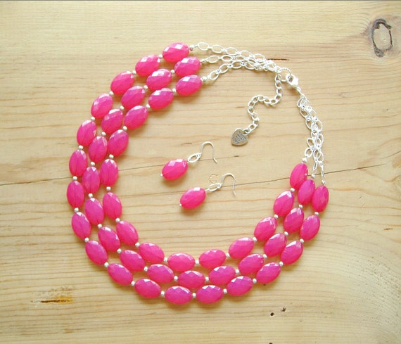 Hot Pink Multi Strand Necklace Hot Pink Statement Necklace