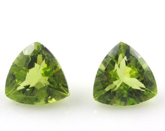 8mm Peridot Trillion Beautiful Lime Green Color Excellent Luster Amazing Brilliance(724)
