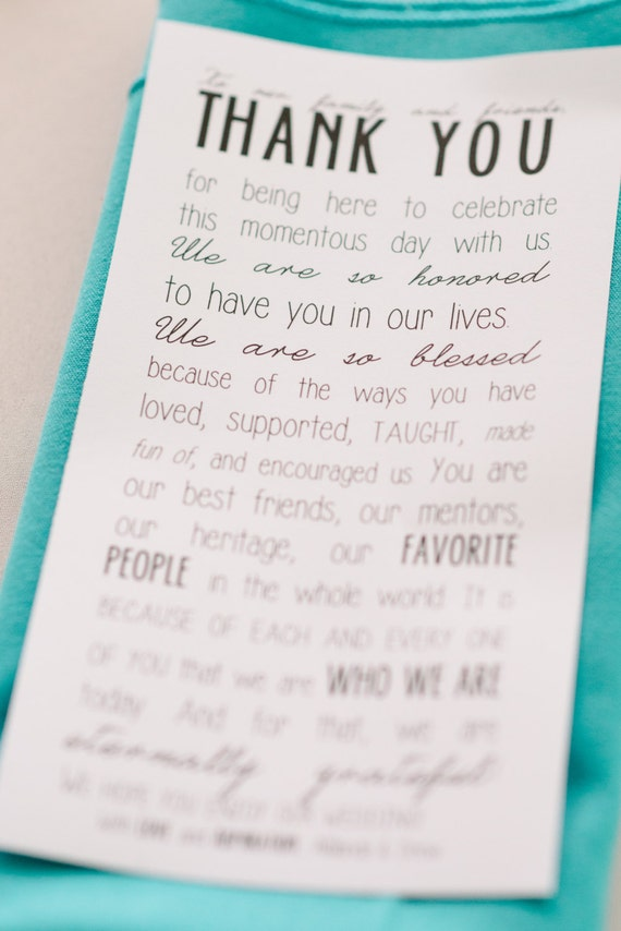 "Printable ""To our family and friends..."" thank you note template (black and white)"