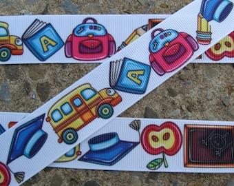 "3y Back to School Ribbon School ribbon 1"" Printed Ribbon hair bow ribbon back to school ribbon"