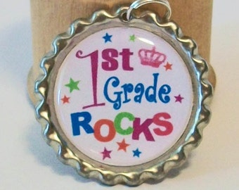 Colorful First Grade Rocks Back to School Flattened Bottlecap Pendant Necklace