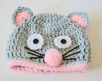 Adorable Gray and Pink Mouse Hat Crocheted Baby and Childrens Hat Great Photo Prop 5 Sizes Available