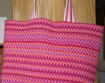 Pink Woven Cotton Tote Bag