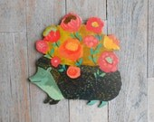 Blossoms Hedgehog Wood Wall Sculpture/Sign/Stand by Kimberly Hodges