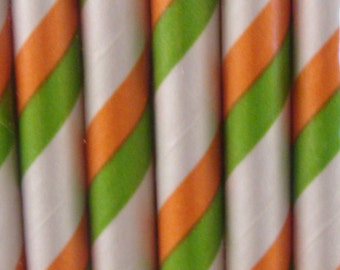 Striped Paper Straws Duo Colored  Qty 50