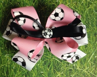 Small Soccer Bow, Pink Soccer Ribbon, Pick Your Colors, Fast Shipping
