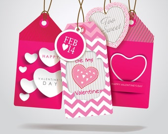 Printable Valentines Gift Bag Tags, Thank You Hang Gift Tag, Instant Download, DIY