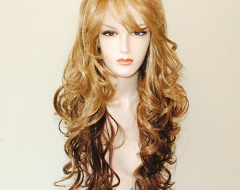 long body curl two toned ombre mix wig