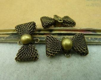 5pcs  12x21mm Antique Bronze Bowknot Charms Pendants