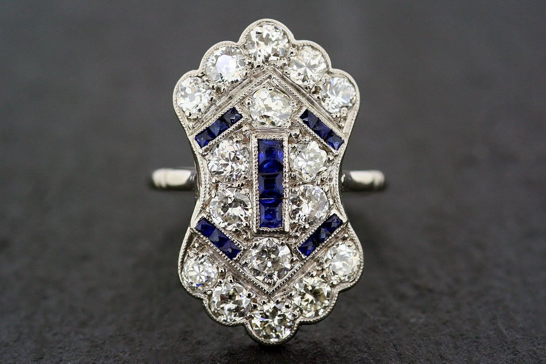 art deco antique engagement ring 1920s sapphire diamond. Black Bedroom Furniture Sets. Home Design Ideas