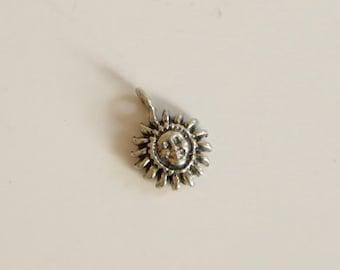 SALE!!  Vintage Smiling Sun Sterling Silver Pendant Charm