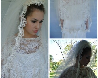 1950s Wedding Dress Gown Chantilly Lace Chiffon Ivory White Grace Kelly Inspired/M