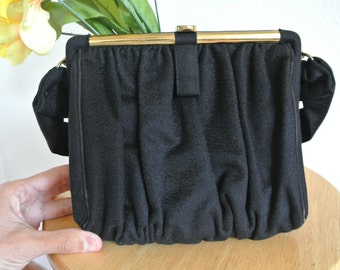 1950s Black Clutch handbag, Formal Purse, Party Cocktail Handbag Purse Clutch