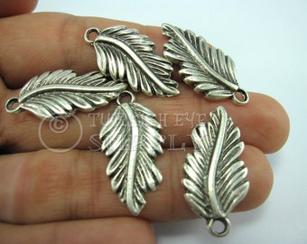 5 pc Silver Feather Pendants, Charms, Antique Silver Plated Pendant, Good Luck Charms