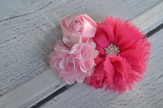 Pretty in Pink Flower Elastic Headband for Women, Girls and Babies