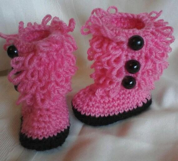 Crochet Uggs : Crocheted FUZZY Baby Ugg Boots - Baby Uggs - Baby Girl Crochet Sh...