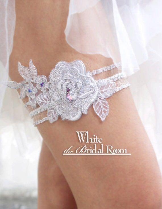 Items Similar To Sliver Lace Bridal Garter Purple Crystal Rhinestone Wedding Garter Handmade