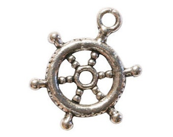 16 Silver Ships Wheel Charm 3D 20x15mm by TIJC SP0079