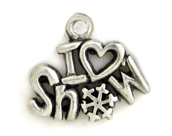 5 I Love Snow Charm Ski Pendant 15x16mm by TIJC SP0719
