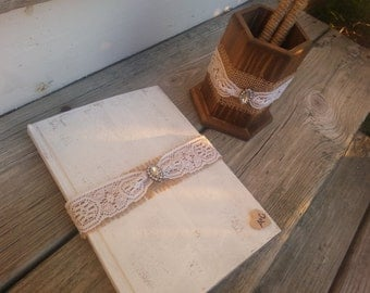 Personalized rustic wedding guest book and pen set, country wedding book burlap wedding, shabby chic wedding book