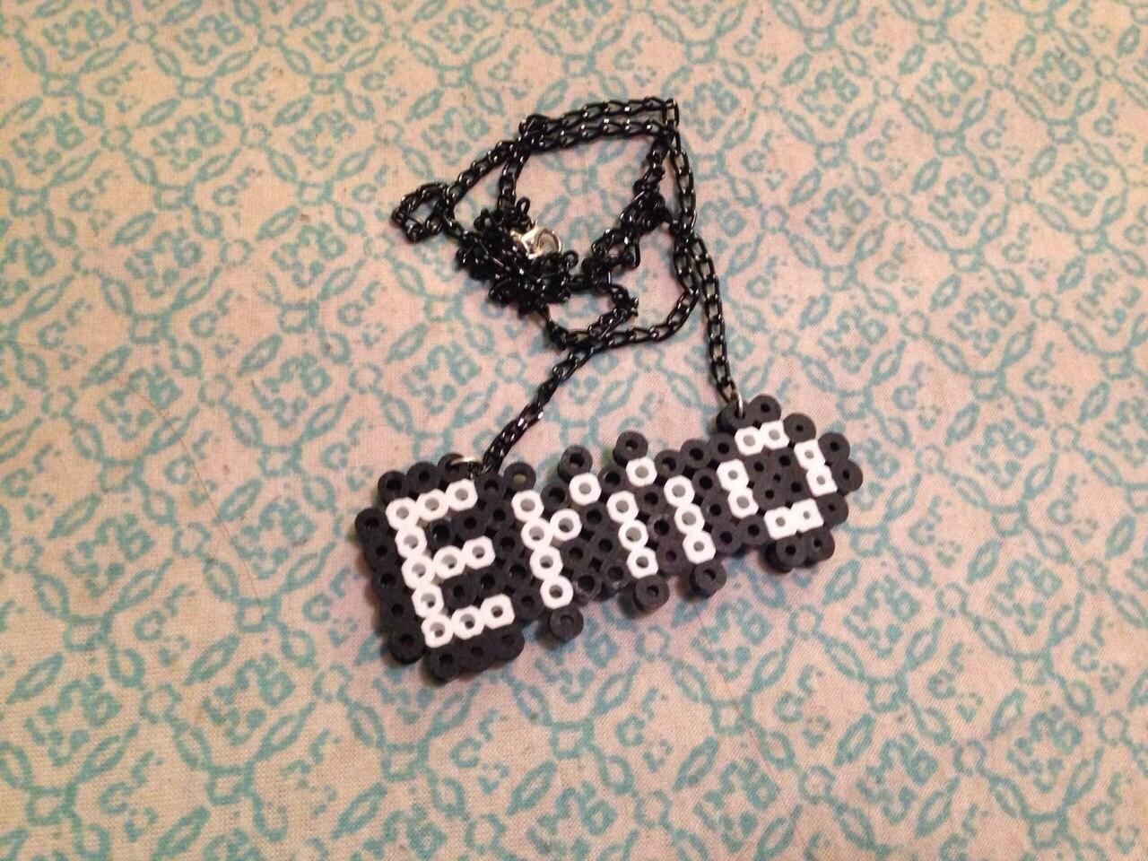 kawaii pixel perler bead necklace by fatkawaii on etsy
