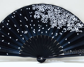 Fabric Japanese Sakura Season Black and white, Kimono Sensu, hand fan,  folding fan, wedding fan