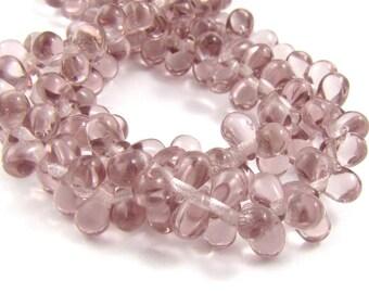 Light Amethyst Tear Drop 4x6mm Czech Glass Beads 50pc #979