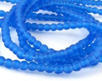 Matte Caspian Blue  3mm  Round Czech Glass  Beads 100pc #1392