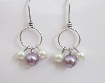 Lavender & White Pearl Bead Earrings