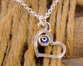 Evil Eye Silver Heart Pentant Necklace Blue Evil Eye Bead Pendant on Silver Chain