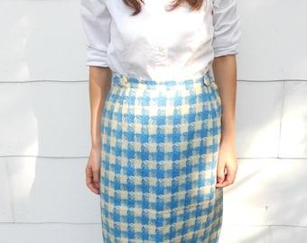 Vintage 1950's Blue and White Plaid Skirt by Bobbie Brooks (#25-23)