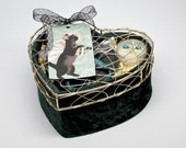 Bath & Body Gift Basket, Woman's Gift Set, Upcycled Velvet Heart Box, One of a Kind