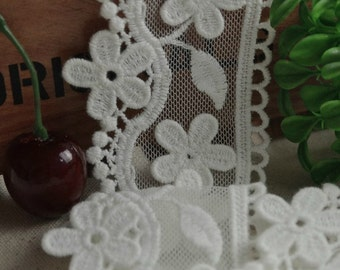 Embroidered Tulle Lace, White Lace, Daisy Flowers Trim, Cotton Lace Trims, 2 Yards