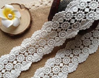 Cotton Lace Trim - Off White Cotton Lace, Crochet Lace Trim, DIY Handmade Accessory