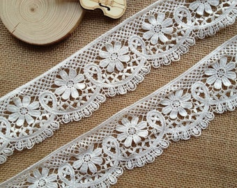 Lovely Beige Floral Cotton Lace Trim for Scrapbooking and Crafts 2.16 inches wide 2 yards