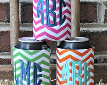 Chevron Monogram Can Insulator -Chevron Can Cooler-Personalized Can Cooler