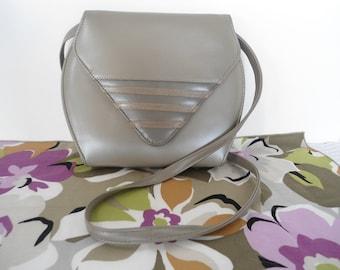 Vintage 80s 90s Heather Grey Geometric Design Purse