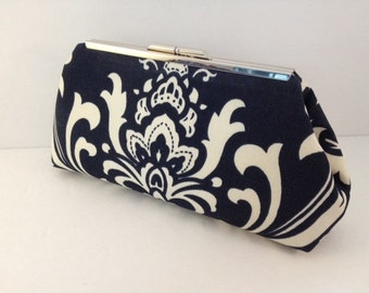 Navy Blue and White Damask Cotton Clutch Purse with Nickel/Silver Finish Snap Close Frame