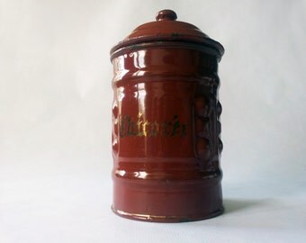 1940's French Kitchen CANISTERS/ French enamelware/ French decor/French kitchen/Shabby chic/ French country /Rustic