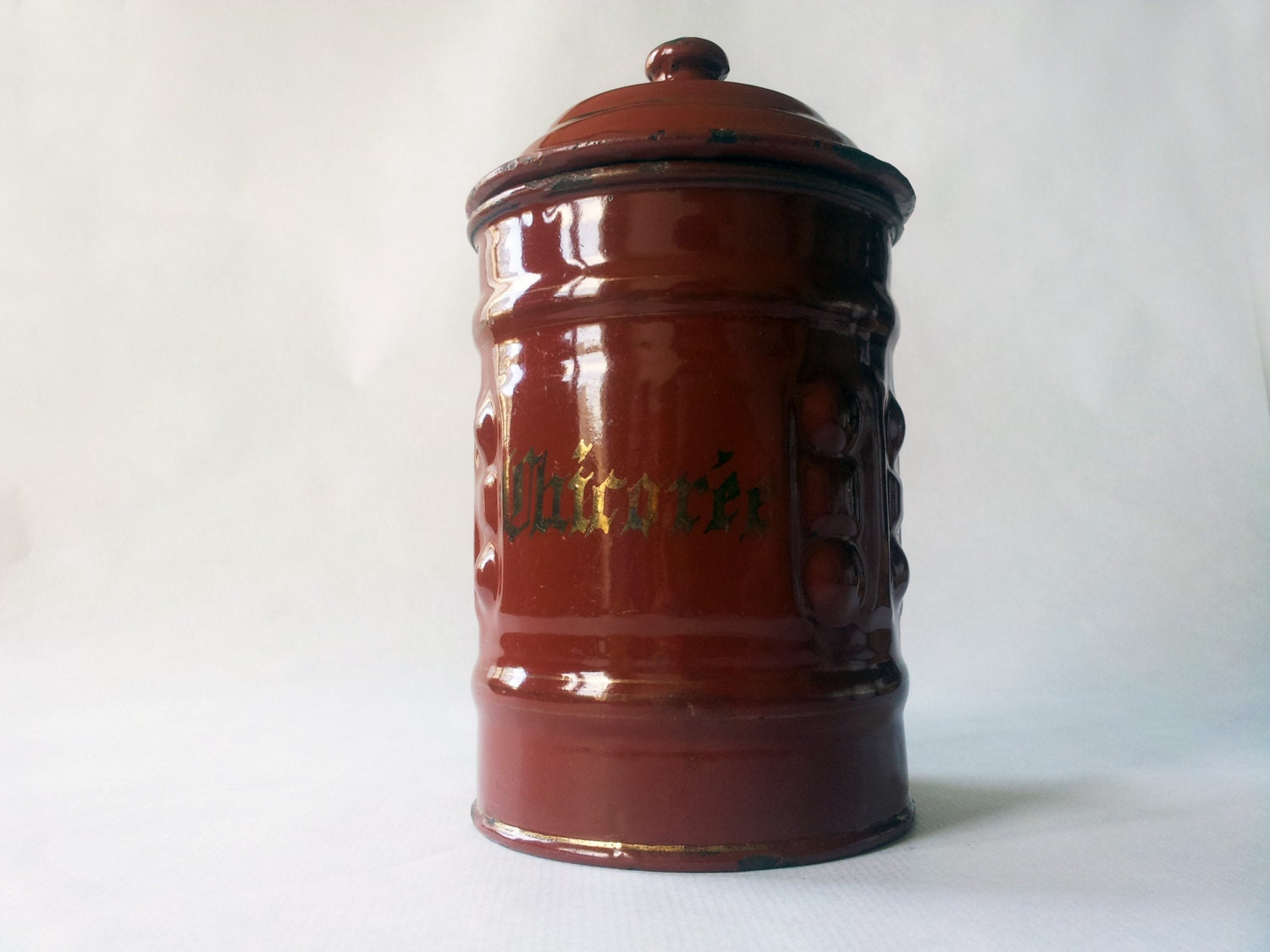 1940's French Kitchen CANISTERS/ French Enamelware/ French