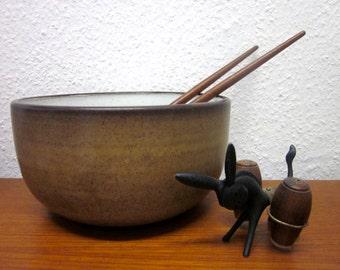 Tall Dutch mid-century salad bowl Zaalberg Holland ceramic 60s era Groeneveldt
