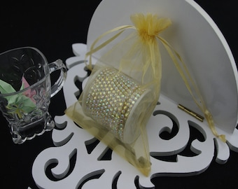 100  2.75''x3.54''  Gold Organza Jewelry Gift Pouch Bags Great For Wedding favors, sachets, beads, jewelry, and more
