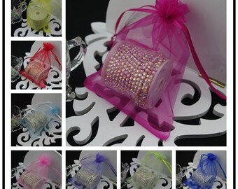 100 7''x9''  Multi Color Organza Jewelry Gift Pouch Bags Great For Wedding favors, sachets, beads, jewelry, and more