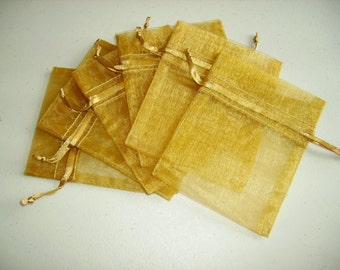 50  5''x7'' Gold Organza Jewelry Gift Pouch Bags Great For Wedding favors, sachets, beads, jewelry, and more