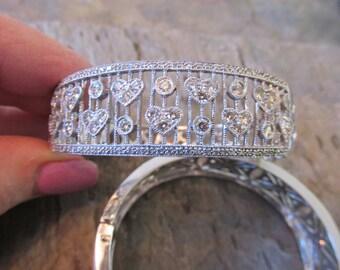 Estate Vintage 14 KT  White Gold Filigree Pave Diamond Hearts Hinged Bangle Cuff Bracelet
