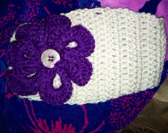 Wide headband w purple wavy flower
